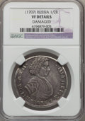 Russia, Russia: Peter I Poltina (1/2 Rouble) 1707 VF Details (Damaged) NGC,...
