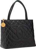 "Luxury Accessories:Bags, Chanel Black Caviar Leather Medallion Tote Bag with Gold Hardware .Very Good Condition . 12"" Width x 10"" Height x 5"" ..."