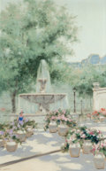 Fine Art - Painting, European:Contemporary   (1950 to present)  , André Gisson (French/American, 1921-2003). Fountain. Oil oncanvas. 48 x 30 inches (121.9 x 76.2 cm). Signed lower left:...