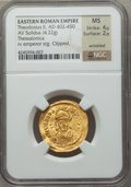 Ancients:Roman Imperial, Ancients: Theodosius II, Eastern Roman Emperor (AD 402-450). AVsolidus (4.22 gm)....