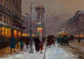 Fine Art - Painting, American:Modern  (1900 1949)  , Edouard-Léon Cortès (French, 1882-1969). Grands Boulevards etPorte St. Denis, sous la neige, circa 1920. Oil on canvas...