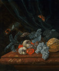 Fine Art - Painting, European:Antique  (Pre 1900), Follower of Willem Van Aelst (Dutch, 18th Century). Still Lifewith Grapes, Peaches, a Melon, and other Fruit on a Marble ...