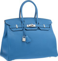 "Luxury Accessories:Bags, Hermes 35cm Blue Paradis Clemence Leather Birkin Bag with PalladiumHardware. Excellent to Pristine Condition. 14"" Wid..."