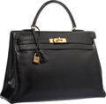 "Luxury Accessories:Bags, Hermes 35cm Black Calf Box Leather Retourne Kelly Bag with GoldHardware. Good Condition. 14"" Width x 10"" Height x 5""..."