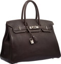 """Luxury Accessories:Bags, Hermes 35cm Ebene Fjord Leather Birkin Bag with Palladium Hardware.Very Good to Excellent Condition. 14"""" Width x 10"""" ..."""