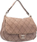 "Luxury Accessories:Bags, Chanel Taupe Quilted Distressed Leather On The Road Large Flap Bagwith Silver Hardware. Very Good Condition. 15""Widt..."