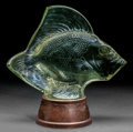 Art Glass:Lalique, R. Lalique Tinted Clear Glass Gros Poisson, Vagues on Illuminated Bronze Base. Circa 1922. Engraved R. Lalique... (Total: 2 Items)