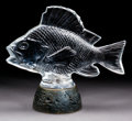 Art Glass:Lalique, Lalique Clear Glass Gros Poisson, Algues on IlluminatedBronze Base. Post 1945 on a circa 1922 base. Stenciled L... (Total:2 Items)