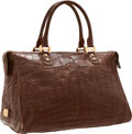 """Luxury Accessories:Bags, Bulgari Matte Brown Alligator Weekender Travel Bag with GoldHardware. Very Good to Excellent Condition. 17"""" Width x1..."""