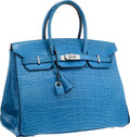 Luxury Accessories:Bags, Hermes Special Order Horseshoe 35cm Matte Mykonos & Blue deMalte Alligator Birkin Bag with Brushed Palladium Hardware.Pr...