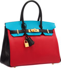Luxury Accessories:Bags, Hermes Special Order Horseshoe 30cm Rouge Casaque, Blue Aztec & Black Chevre Leather Birkin Bag with Gold Hardware. Pristi...
