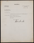 Baseball Collectibles:Others, Kenesaw Mountain Landis Signed Letter....