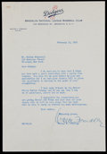 Baseball Collectibles:Others, 1951 Walter O'Malley Signed Letter....