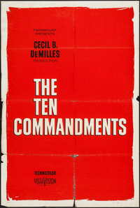 "The Ten Commandments (Paramount, 1956/R-1966). Advance Roadshow One Sheet (28"" X 42"") and One Sheet (27""..."