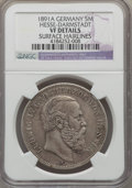 German States:Hesse  - Darmstadt, German States: Hesse-Darmstadt. Ludwig IV 5 Mark 1891-A VF Details(Surface Hairlines) NGC,...