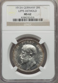 German States:Lippe  - Detmold, German States: Lippe-Detmold. Leopold IV 3 Mark 1913-A MS62 NGC,...