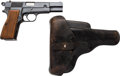 Handguns:Semiautomatic Pistol, Belgian FN Browning Hi-Power Semi-Automatic Pistol with Leather Holster....