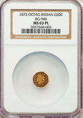 California Fractional Gold : , 1875 50C Indian Octagonal 50 Cents, BG-946, R.4, MS63 ProoflikeNGC. NGC Census: (9/8). ...