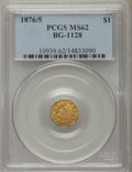 California Fractional Gold , 1876/5 $1 Indian Octagonal 1 Dollar, BG-1128, R.5, MS62 PCGS. PCGSPopulation (7/16). NGC Census: (3/1). ...