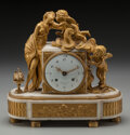 Decorative Arts, French:Other , A French Gilt Bronze and Marble Figural Clock, Paris, France, circa1870. Marks: Baudoin a Paris . 13 inches high x 13-1...