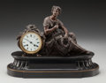 Decorative Arts, French:Other , A French Neoclassical Bronzed Metal and Marble Mantle Clock, circa1870. Marks to mechanism: F.A., 705. 13-1/2 inches hi...