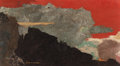 Post-War & Contemporary:Abstract Expressionism, Paul (Chikamasa) Horiuchi (Japanese, 1906-1999). EveningSky. Casein and collage on board. 7 x 12-1/4 inches (17.8 x31....