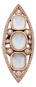 Estate Jewelry:Rings, Moonstone, Diamond, Pink Gold Ring. ...