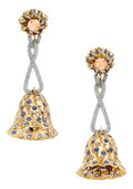 Estate Jewelry:Earrings, Multi-Stone, Diamond, Platinum, Gold Earrings. ...