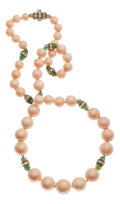 Estate Jewelry:Necklaces, Coral, Diamond, Emerald, Gold Necklace. ...