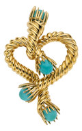 Estate Jewelry:Brooches - Pins, Turquoise, Gold Brooch, Tiffany & Co.. ...