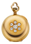 Estate Jewelry:Pendants and Lockets, Tiffany & Co. Antique Diamond, Gold Openface Pendant Watch. ...