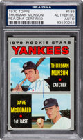 Baseball Collectibles:Others, 1970 Topps Thurman Munson Signed Rookie Card #189 PSA/DNA Authentic....