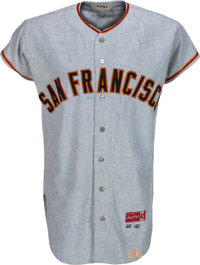 1966 Willie Mays Game Worn San Francisco Giants Jersey, MEARS A10