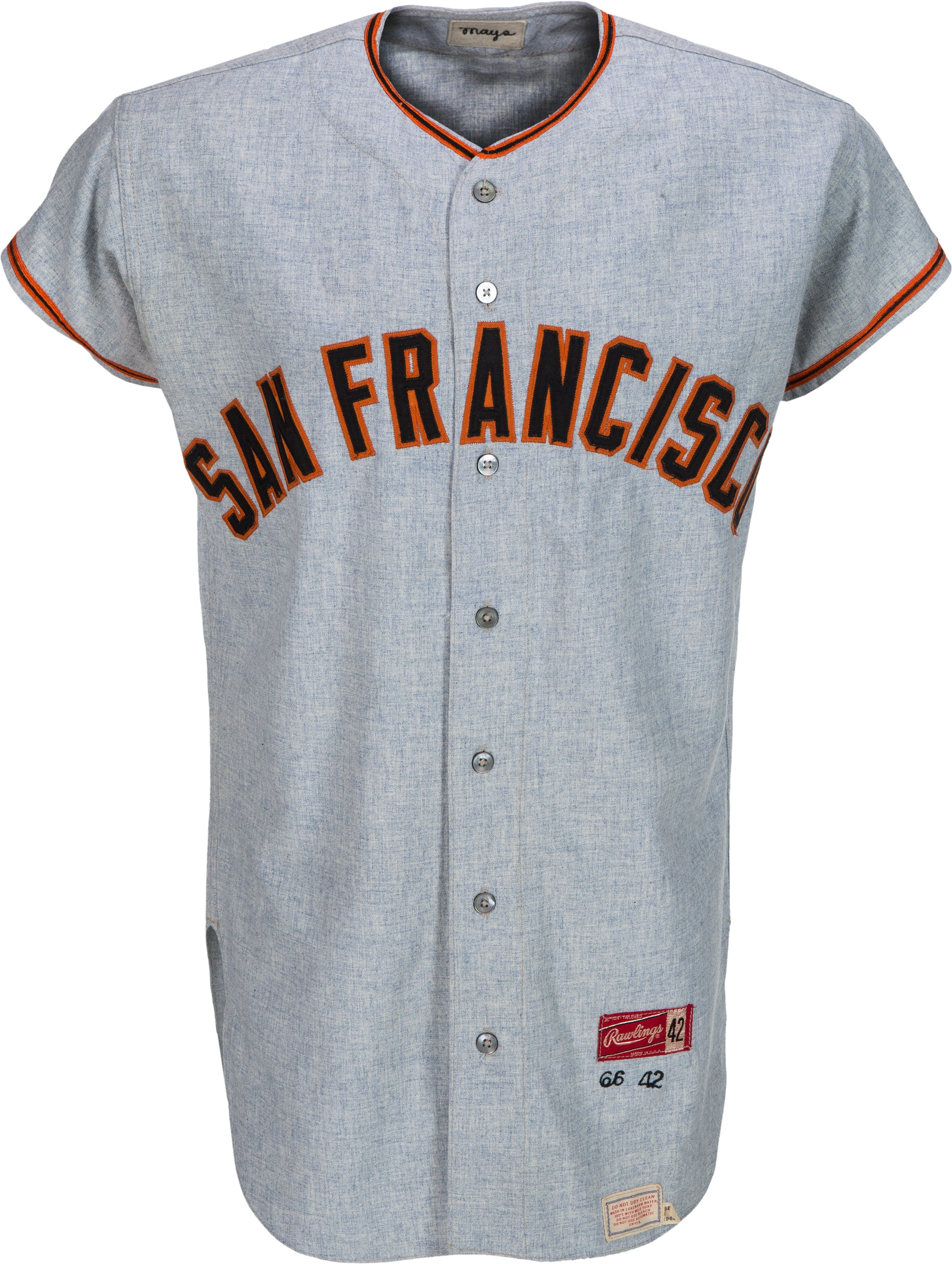 official photos 63ebb 6d933 1966 Willie Mays Game Worn San Francisco Giants Jersey ...
