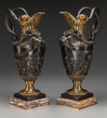 Sculpture, A Pair of Neoclassical Patinated Bronze and Marble Figural Urns, after Clodion, 20th century. Marks: CLODION. 20 inches ... (Total: 2 Items)