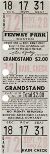 Baseball Collectibles:Tickets, 1960 Ted Williams Full Ticket from Ted Williams Last Game. ...