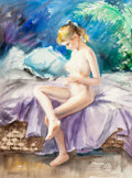 Works on Paper, Eva Makk (American, b. 1933). Nude on Lavender, 1985. Watercolor on paper. 34 x 26 inches (86.4 x 66.0 cm). Signed and d...