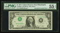 Error Notes:Inverted Third Printings, Fr. 1908-C $1 1974 Federal Reserve Inverted Third Printing Note.PMG About Uncirculated 55 EPQ.. ...