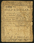 Colonial Notes:Continental Congress Issues, Continental Currency February 17, 1776 $1/2 Good-Very Good.. ...