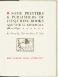 Books:Books about Books, Trevor H. Hall and Percy H. Muir. REVIEW COPY. Some Printers & Publishers of Conjuring Books and Other Ephemera, 1800-18...