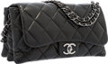 "Luxury Accessories:Bags, Chanel Black Quilted Lambskin Leather Accordion Flap Bag withSilver Hardware. Excellent Condition. 11"" Width x 7""Hei..."