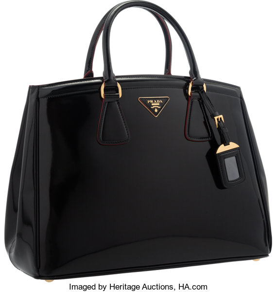 28106d157 Luxury Accessories:Bags, Prada Nero Black Patent Leather Tote Bag with Gold  Hardware.