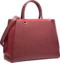 """Luxury Accessories:Bags, Fendi Red Leather 2 Jours Tote Bag with Gold Hardware. ExcellentCondition. 14"""" Width x 11"""" Height x 6"""" Depth. ..."""
