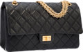 "Luxury Accessories:Bags, Chanel Black Quilted Distressed Leather Reissue Double Flap Bagwith Gold Hardware. Very Good Condition. 11"" Width x7..."