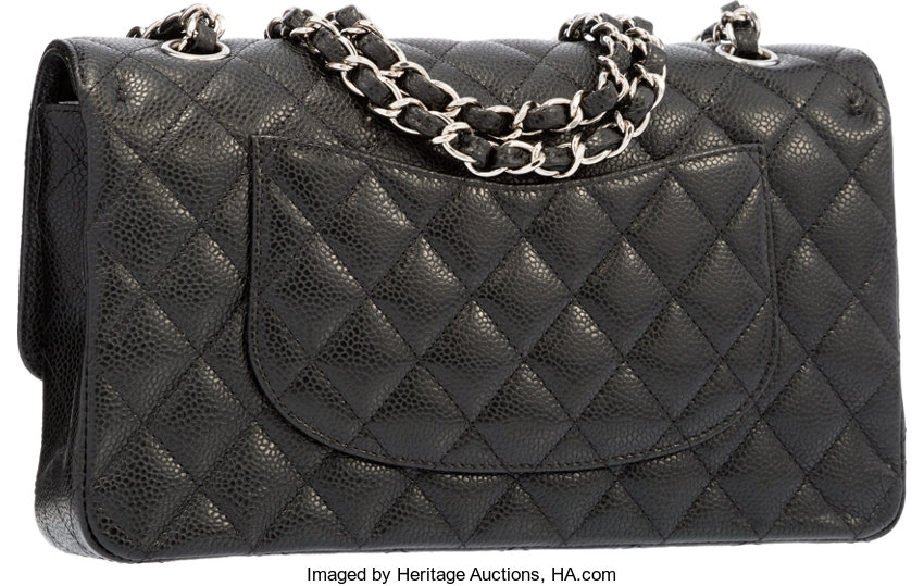 32d8fbc658aa6e Chanel Black Quilted Caviar Leather Medium Double Flap Bag | Lot #58255 |  Heritage Auctions