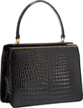 "Luxury Accessories:Bags, Gucci Shiny Black Crocodile Top Handle Bag with Gold Hardware.Good Condition. 9"" Width x 7"" Height x 4"" Depth. ..."