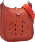 """Luxury Accessories:Bags, Hermes Rouge Venetian Clemence Leather Evelyne TPM Bag withPalladium Hardware. Pristine Condition. 6.5"""" Width x 7""""He..."""