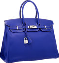 Luxury Accessories:Bags, Hermes Limited Edition Candy Collection 35cm Blue Electric & Mykonos Epsom Leather Birkin Bag with Palladium Hardware. Ver...