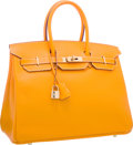 Luxury Accessories:Bags, Hermes Limited Edition Candy Collection 35cm Jaune d'Or &Potiron Epsom Leather Birkin Bag with Palladium Hardware.Pristi...