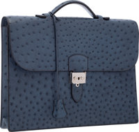 Hermes Blue Roi Ostrich Single Gusset Sac a Depeches Briefcase Bag with Palladium Hardware Very Good to Excelle